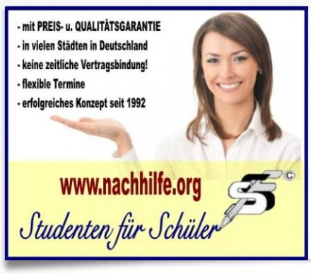 Nachhilfe-Vermittlung STUDENTEN FÃ?R SCHÃ?LER www.nachhilfe.org